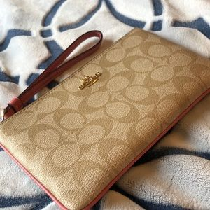 Coach Wristlet - Pink and Tan, Logo